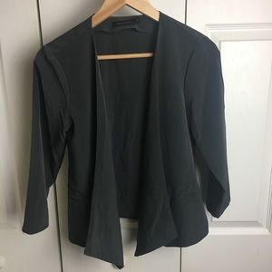 The Limited gray open front blazer w/cropped slv